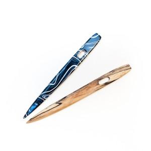 Acyrlic and Wood: Spalted Hackberry Nalbinding Needle