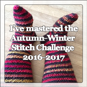 Autumn-Winter Stitch Challenge 2016-2017 reward graphic - socks image by Karin Byom used with permission